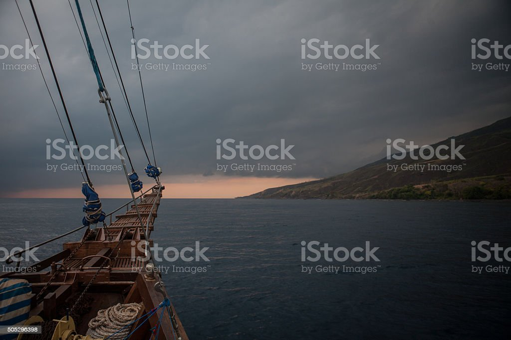 Ship, Storm, and Island stock photo