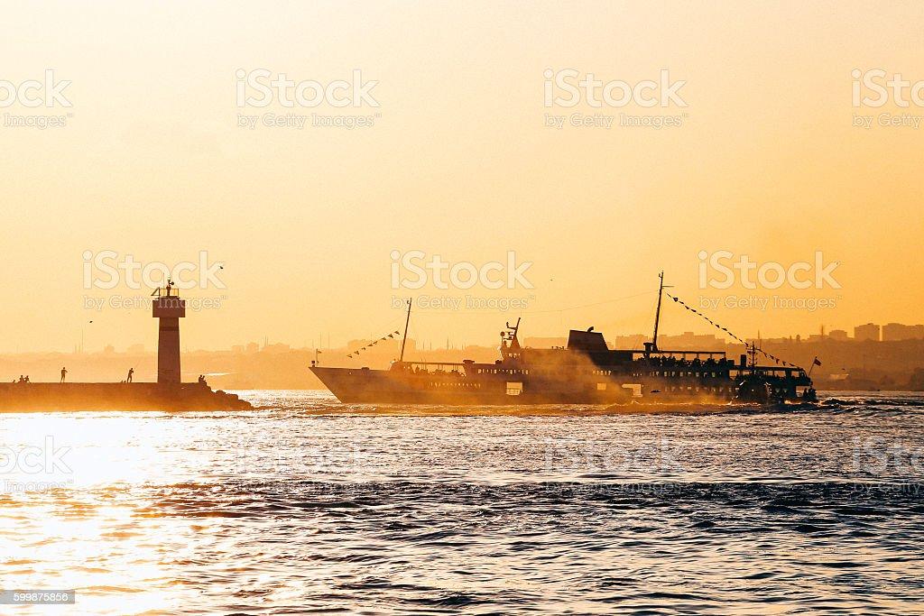 Ship Sunset stock photo