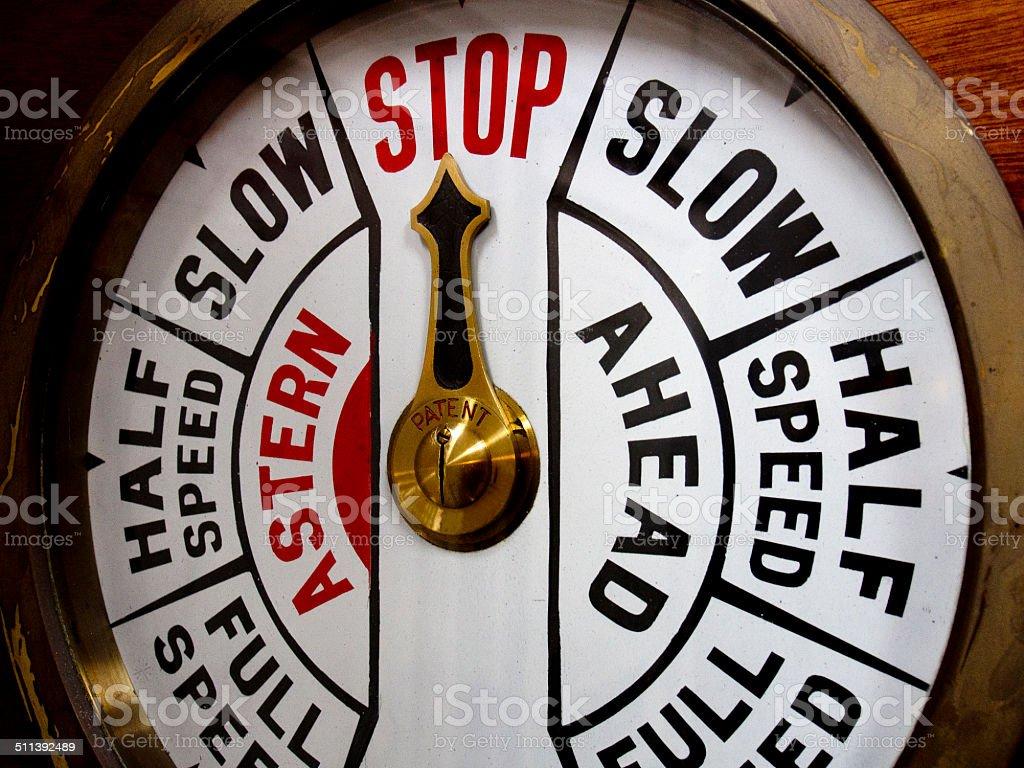 Ship Telegraph system - Stop! stock photo