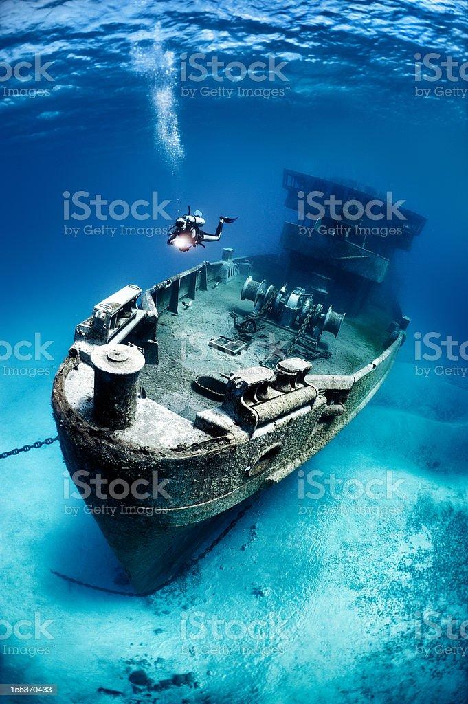 Ship that sank a long ago stock photo