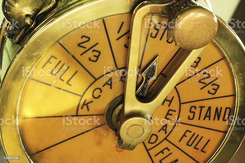 Ship Throttle Speed Control Vintage Brass stock photo