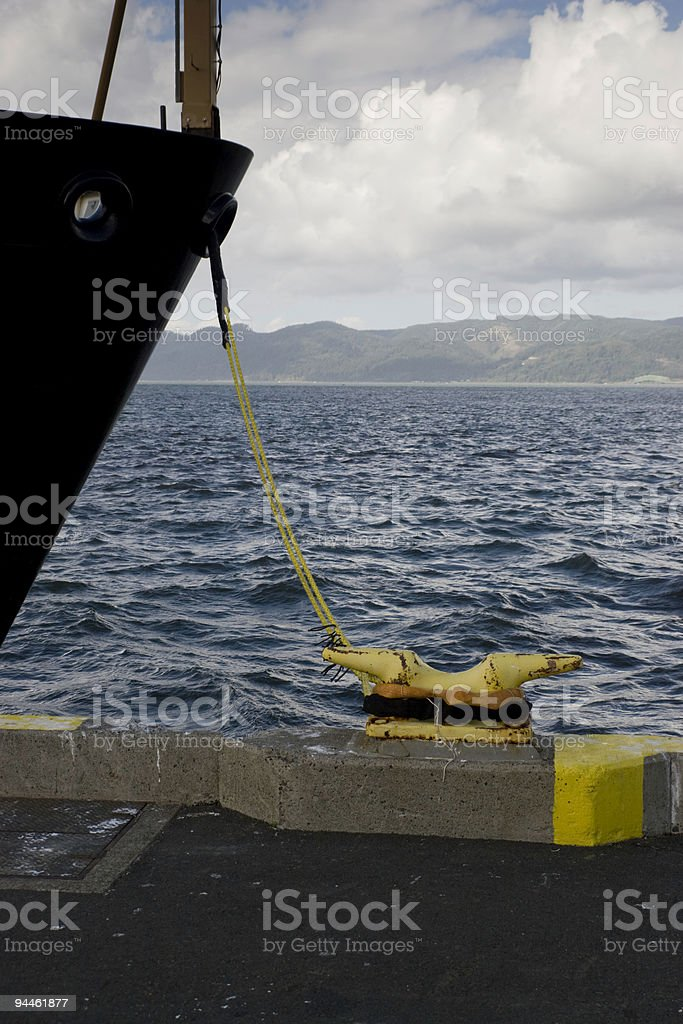 Ship Tied to Dock royalty-free stock photo