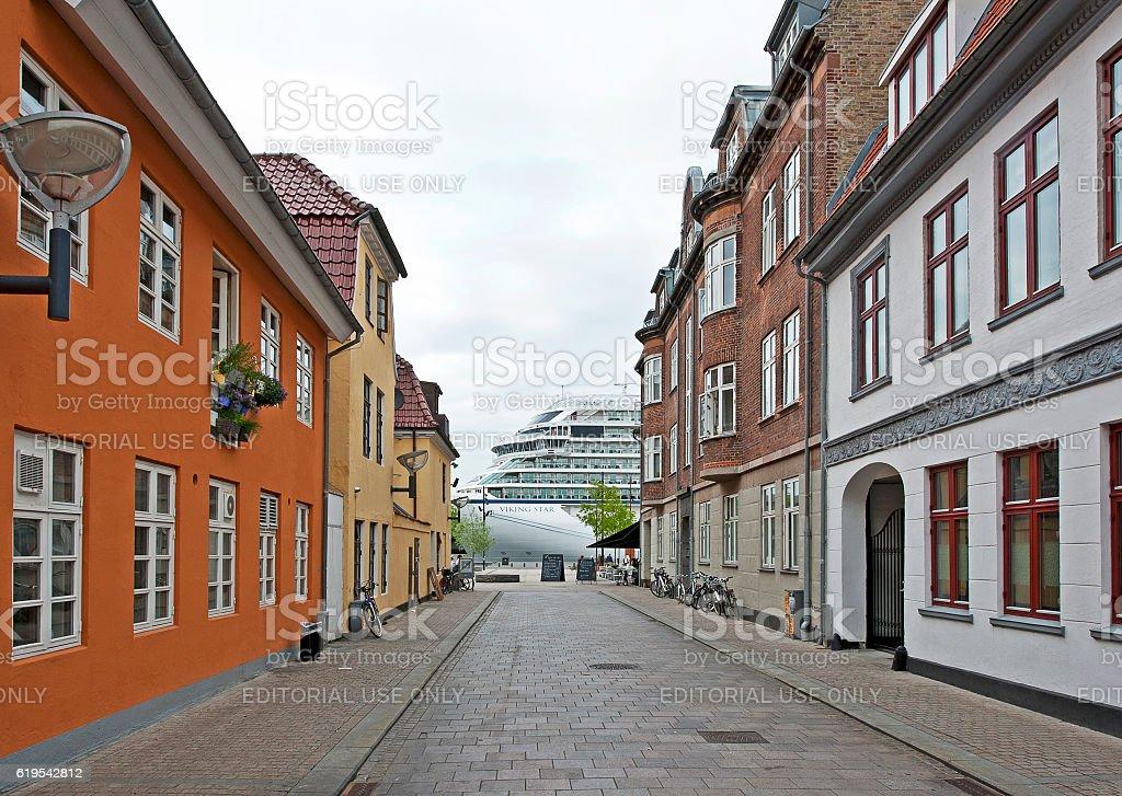 Ship to shore, Aalborg, Denmark stock photo