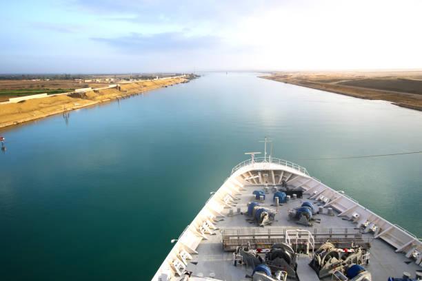 Navire transitant par le canal de Suez. Sable du désert des deux côtés. L'arc et le rail du vaisseau. - Photo