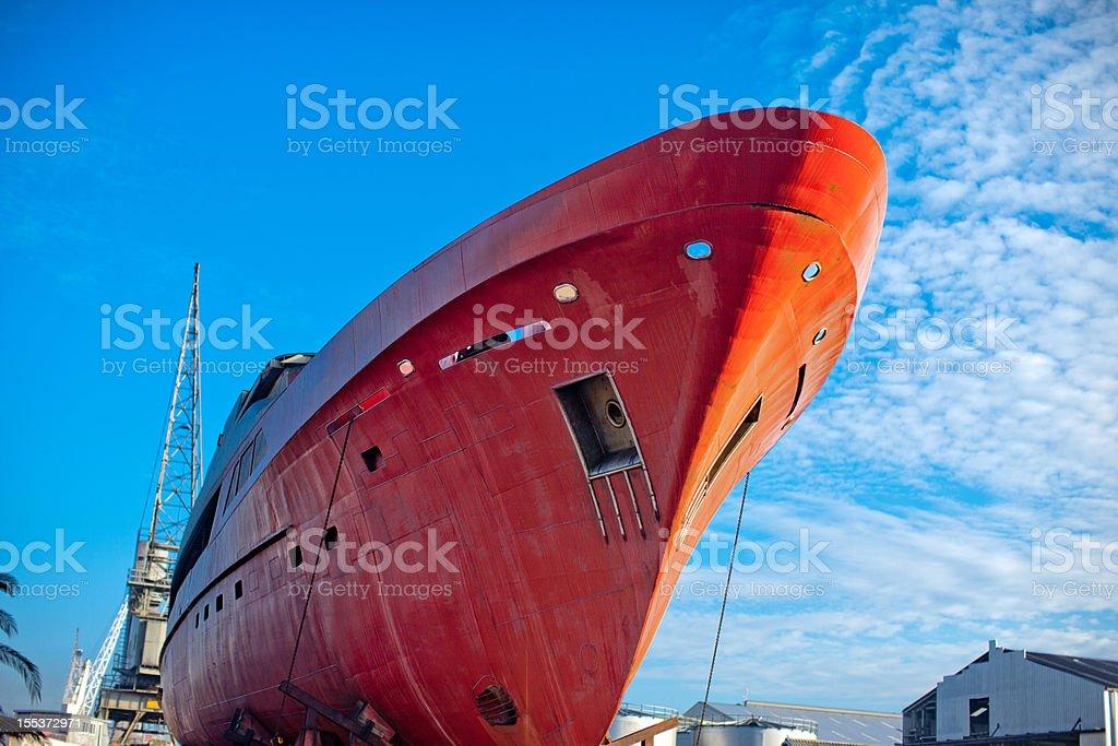 Ship under repairs stock photo