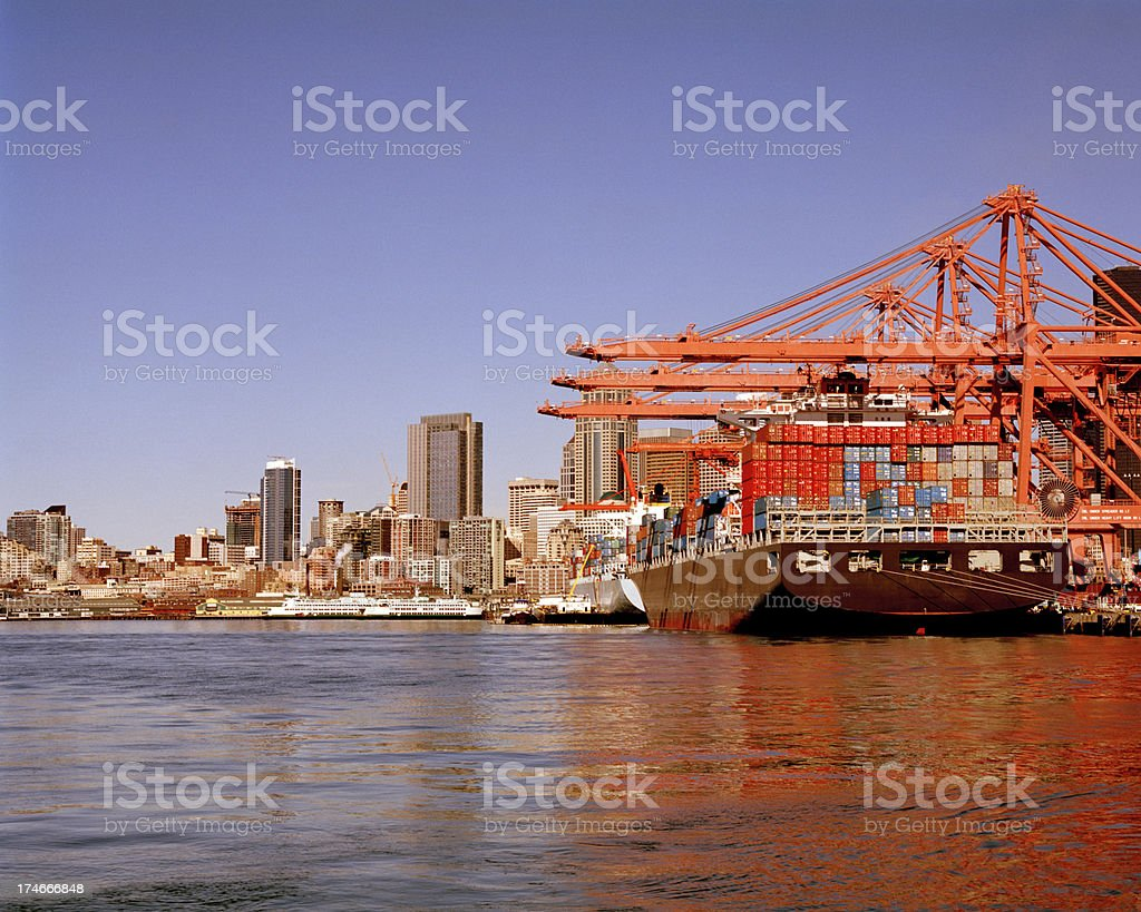 Ship Unloading, Seattle Waterfront, March 6 2009 royalty-free stock photo