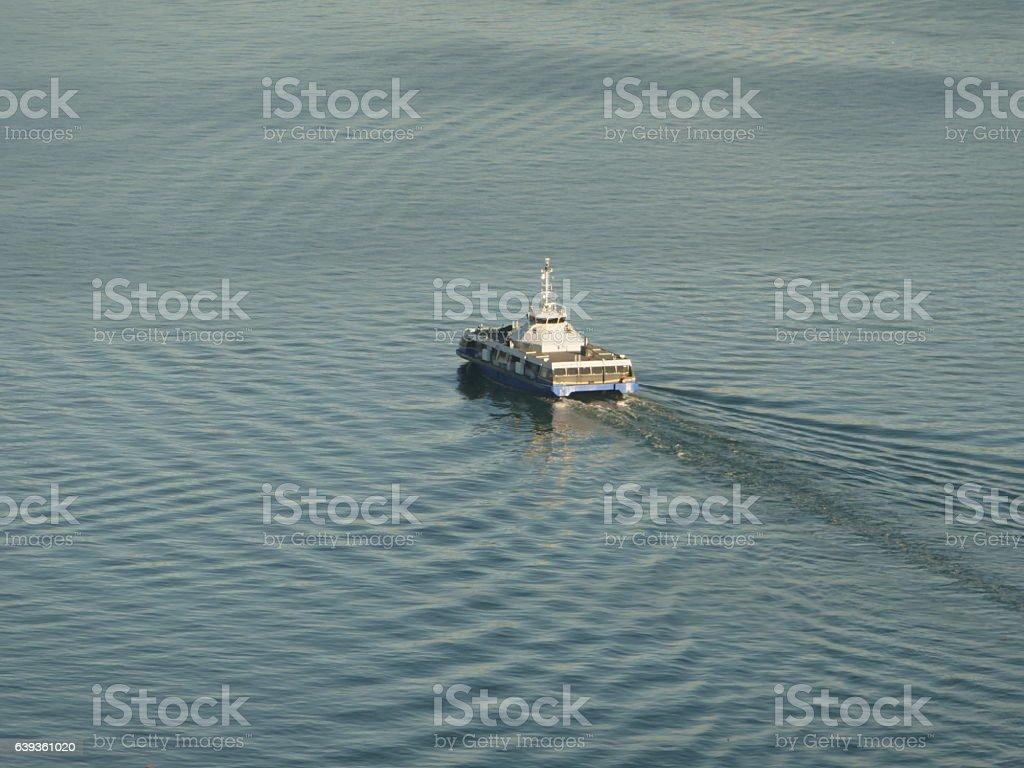 Ship wakes stock photo
