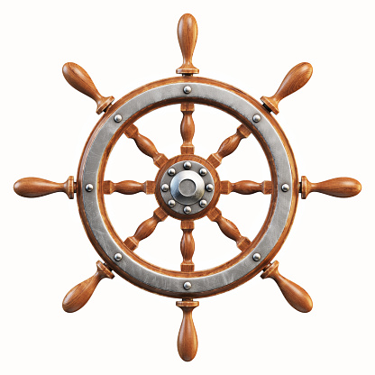 Ship wheel isolated on white background 3d rendering