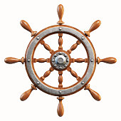 istock Ship wheel isolated on white background 3d rendering 909957650