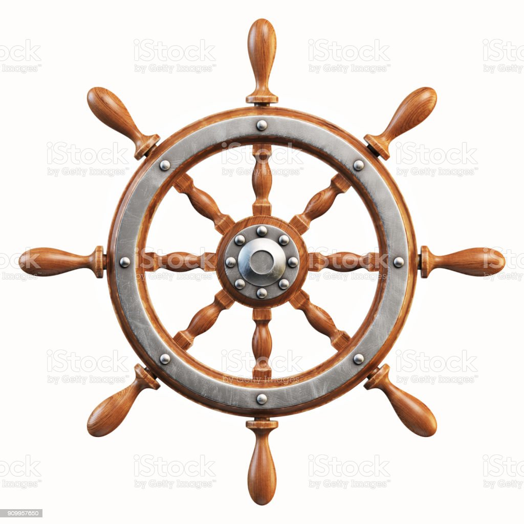 Ship wheel isolated on white background 3d rendering stock photo