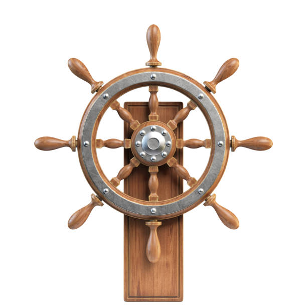 Ship wheel with stand isolated on white background Ship wheel with stand isolated on white background 3d rendering illustration anchor athlete stock pictures, royalty-free photos & images
