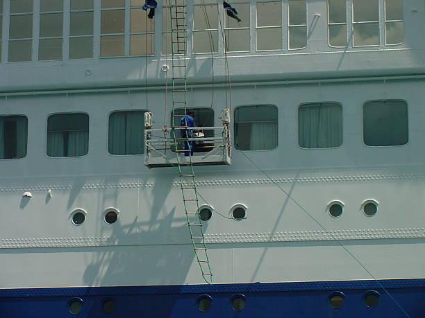 Ship Window Washer stock photo