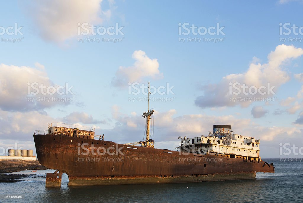 Ship Wreck at Arrecife stock photo