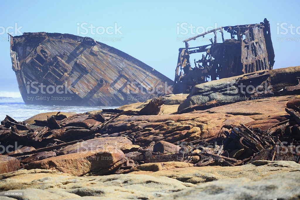 Ship wreck debris stock photo