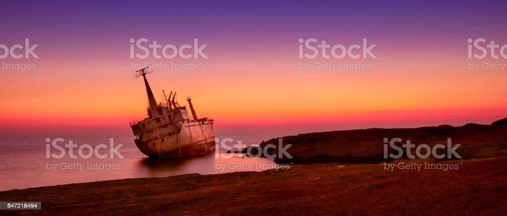 Ship wreck EDRO III in Cyprus stock photo