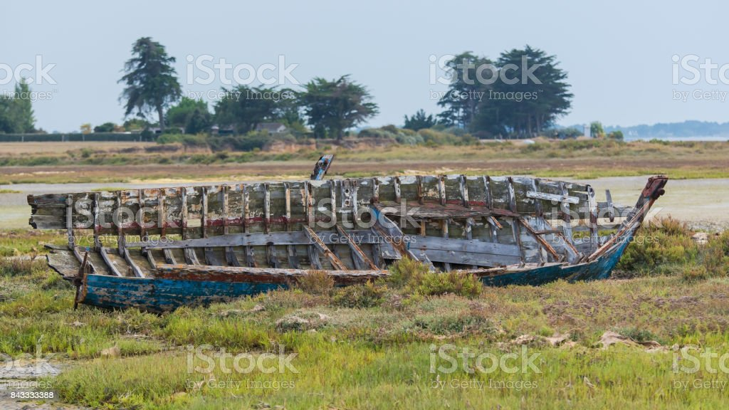 Ship wreck in Brittany in low tide stock photo