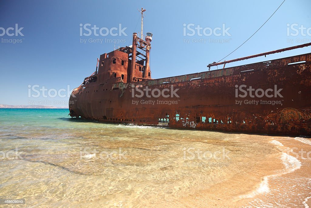 ship wreck in greece stock photo