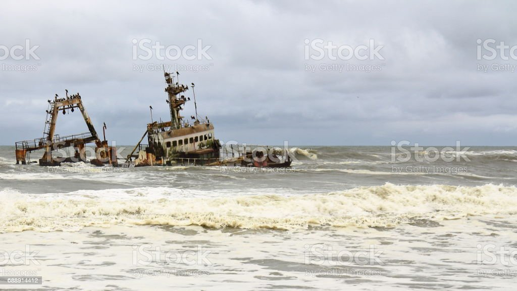 Ship Wreck in Skeleton Coast, Namibia stock photo