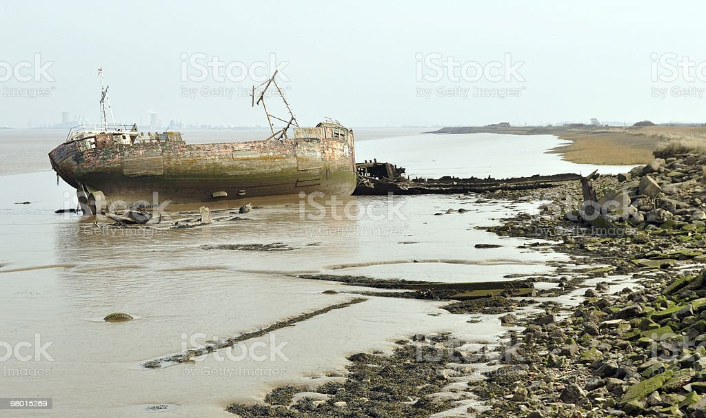 Ship Wreck on River Bank royalty-free stock photo