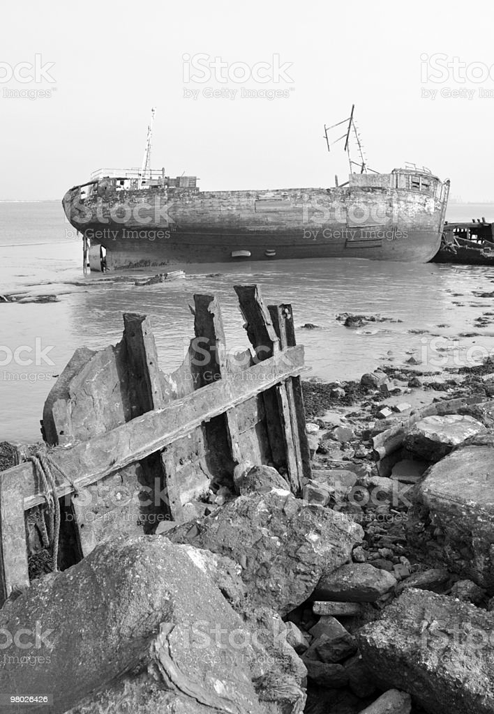 Ship Wreck on River Bank royalty-free stock photo
