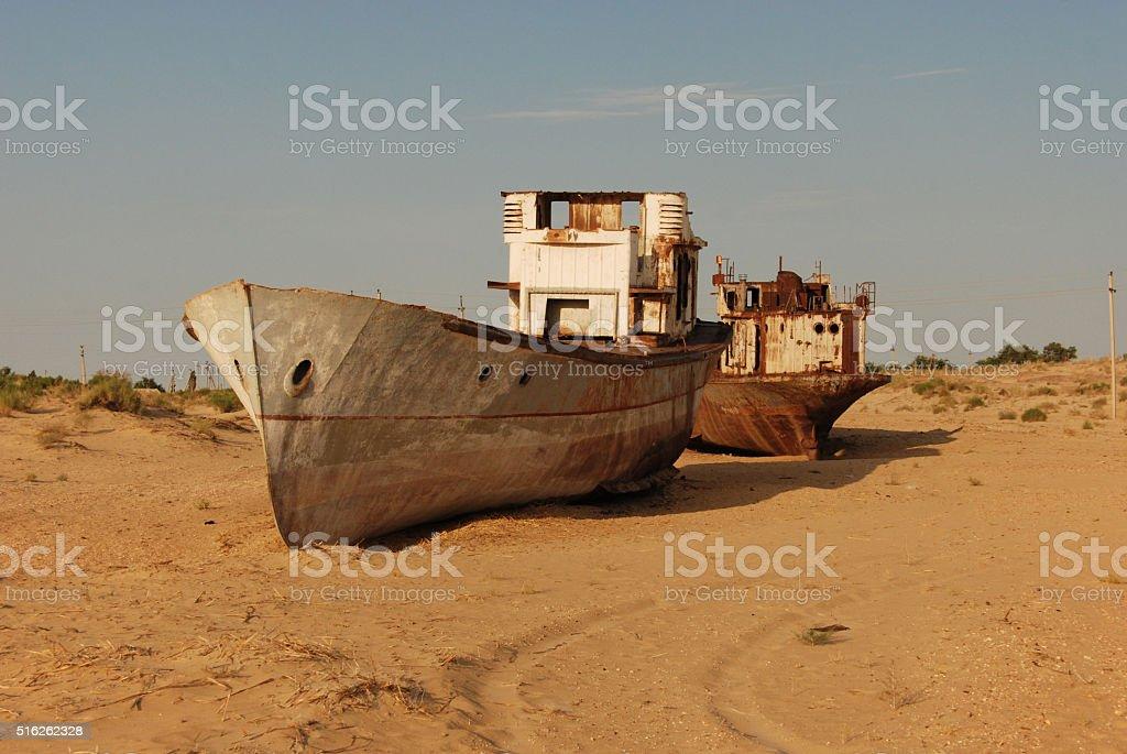 Ship wreckages at Moynaq stock photo