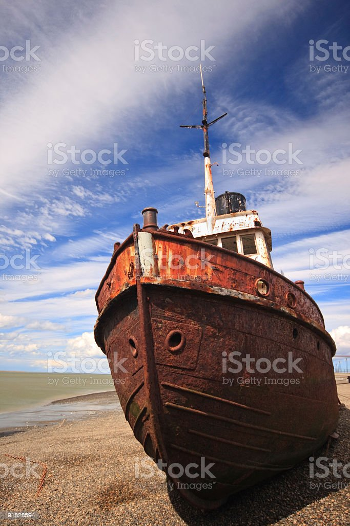 Ship Wrecked on the Beach royalty-free stock photo