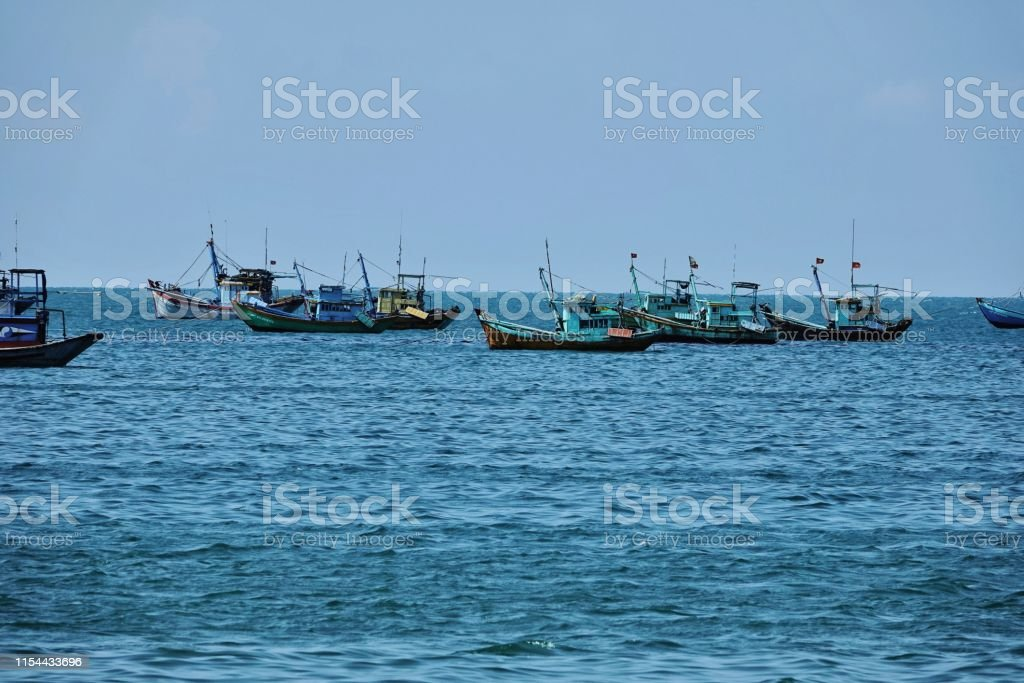 ship yard and blue ocean landscape of asia seaside fishing ship yard Asia Stock Photo