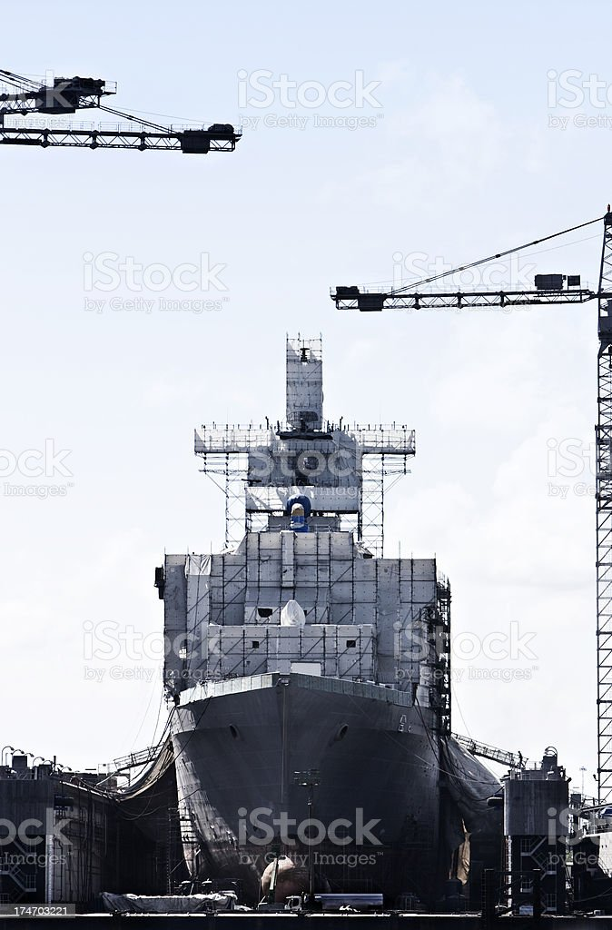Shipbuilding in shipyard - Norfolk, VA stock photo