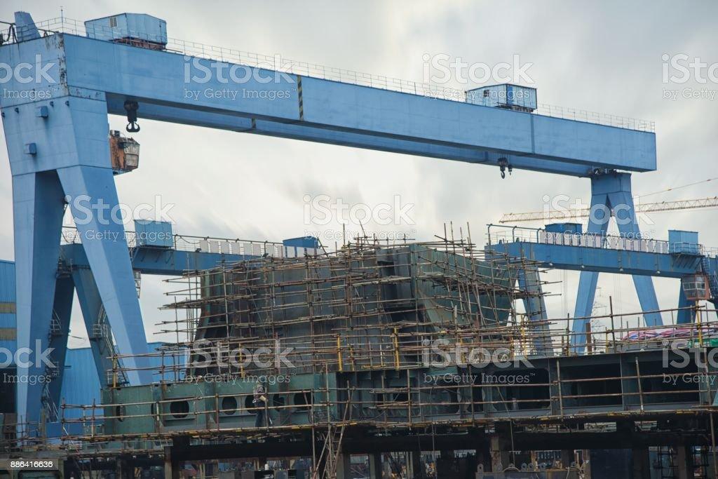 shipbuilding plant stock photo