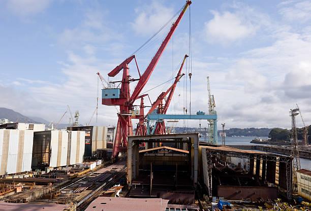 Shipbuilding yard and dock stock photo