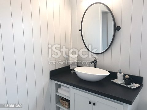 vertical shiplap in bathroom angled