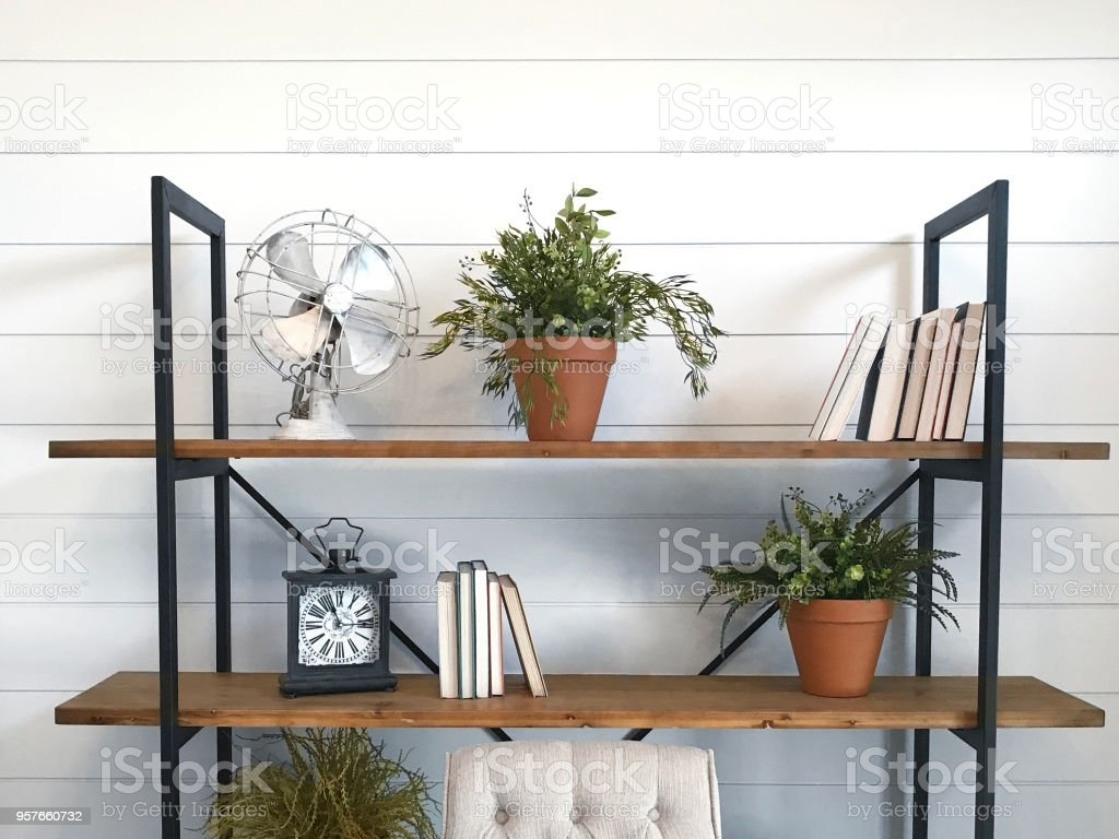 Shiplap Bookshelves royalty-free stock photo