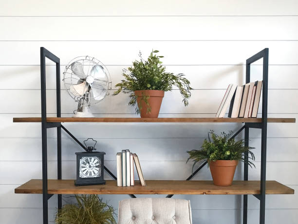 shiplap bookshelves - industrial modern stock photos and pictures