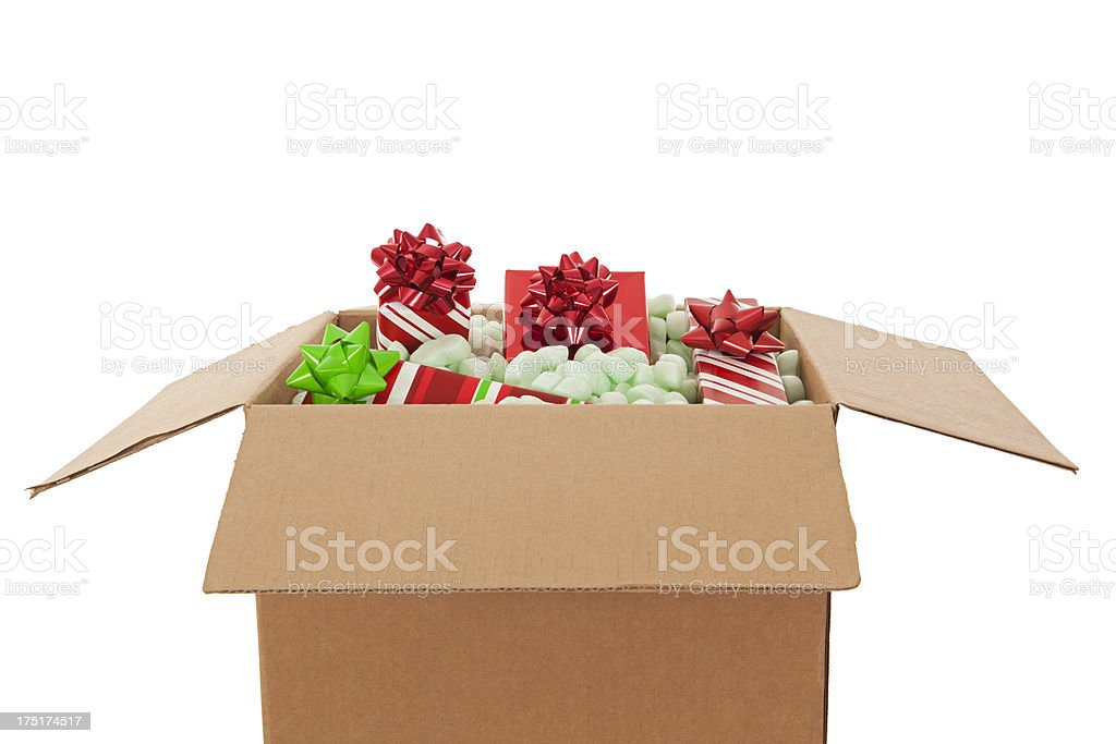 Shipping a Cardboard Box of Christmas Presents stock photo