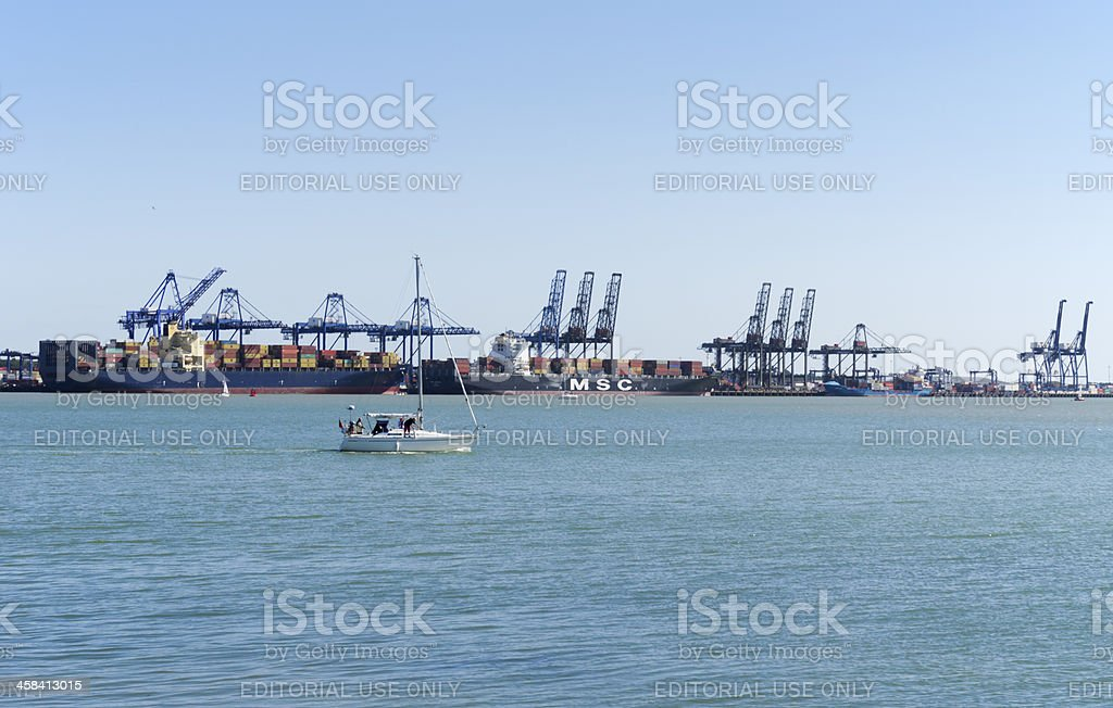 Shipping at the Port of Felixstowe, from Shotley royalty-free stock photo