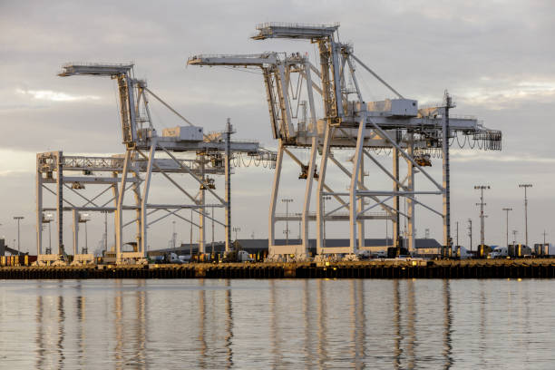 Shipping Container Cranes in the Port of Oakland stock photo