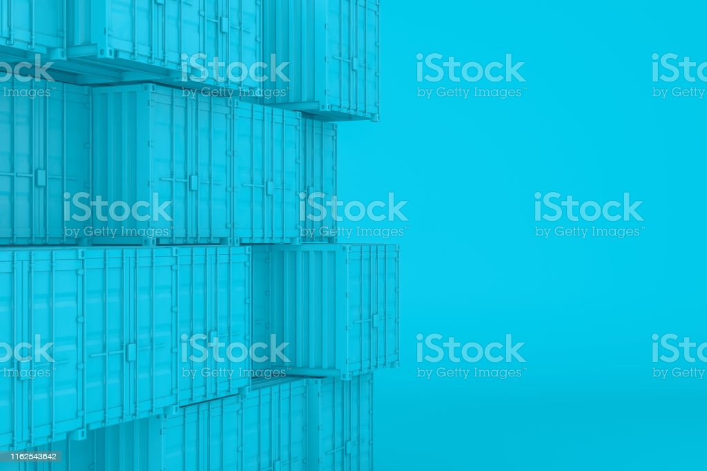 3d rendering of shipping container, minimal design. Global business,...