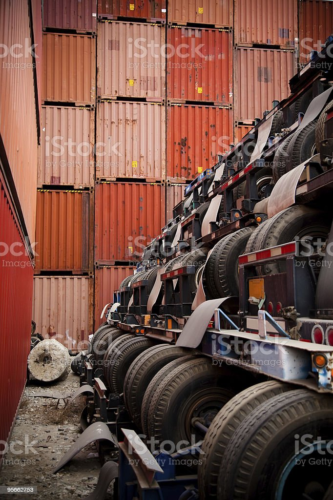 Shipping Containers and Trailers royalty-free stock photo