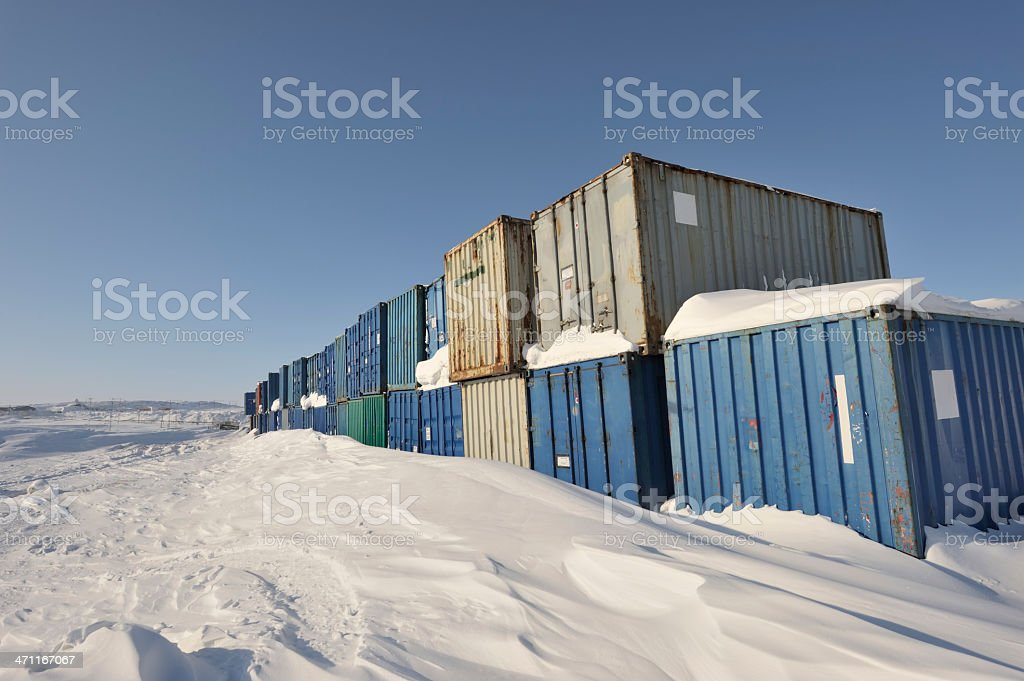 Shipping Containers, Baffin Island. royalty-free stock photo