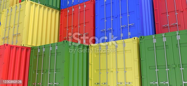 Shipping, containers, background, board, cargo, stack 3d rendering