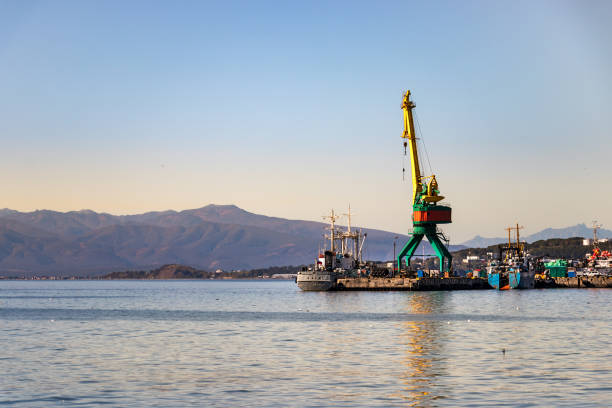 Shipping crane in the Port of Petropavlovsk, Russia. stock photo