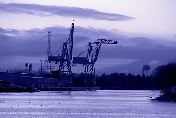 Shipping Cranes, Port of Stockton, California stock photo