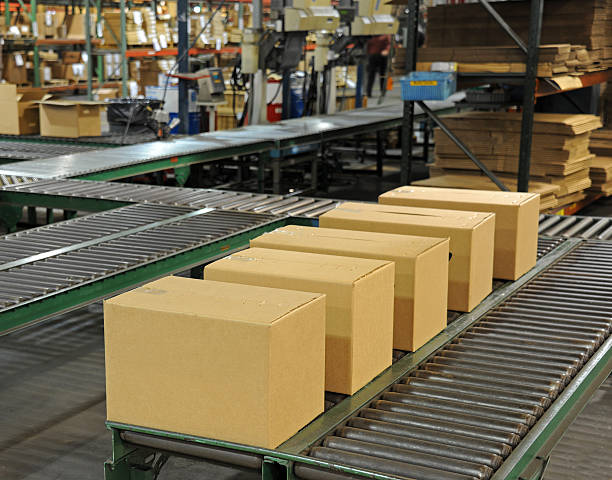 Shipping Department A row of boxes waiting to be shipped in a factory. food warehouse stock pictures, royalty-free photos & images