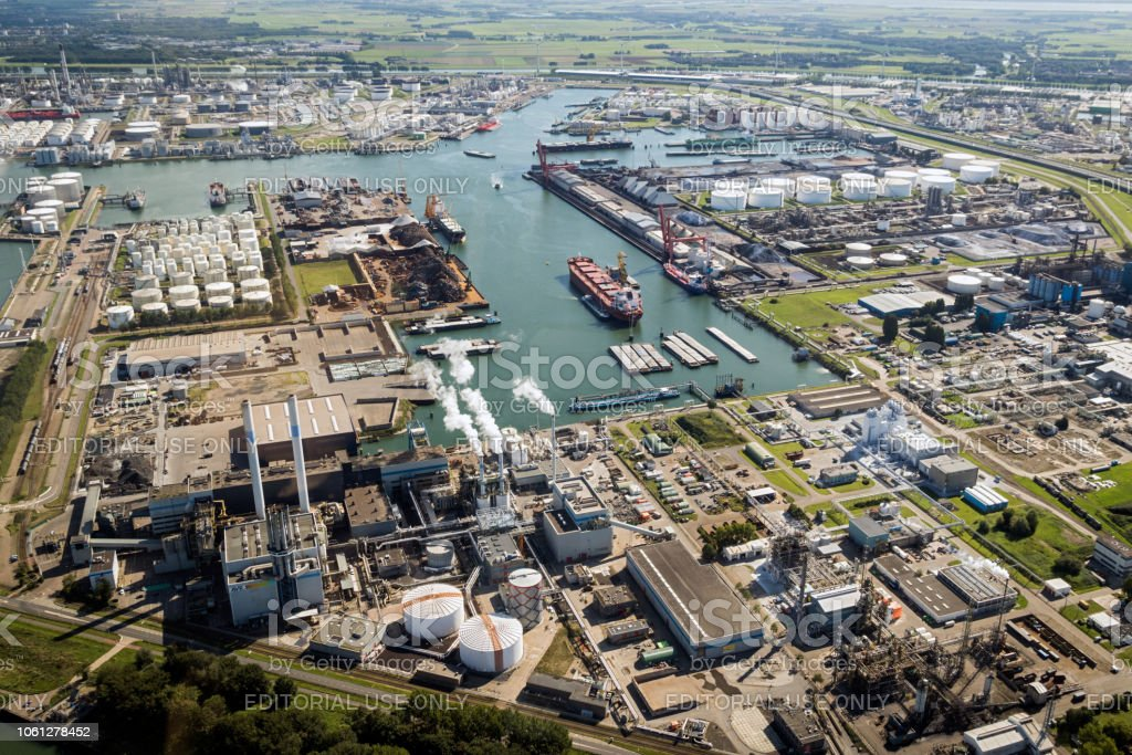 Shipping industry Port of Rotterdam stock photo