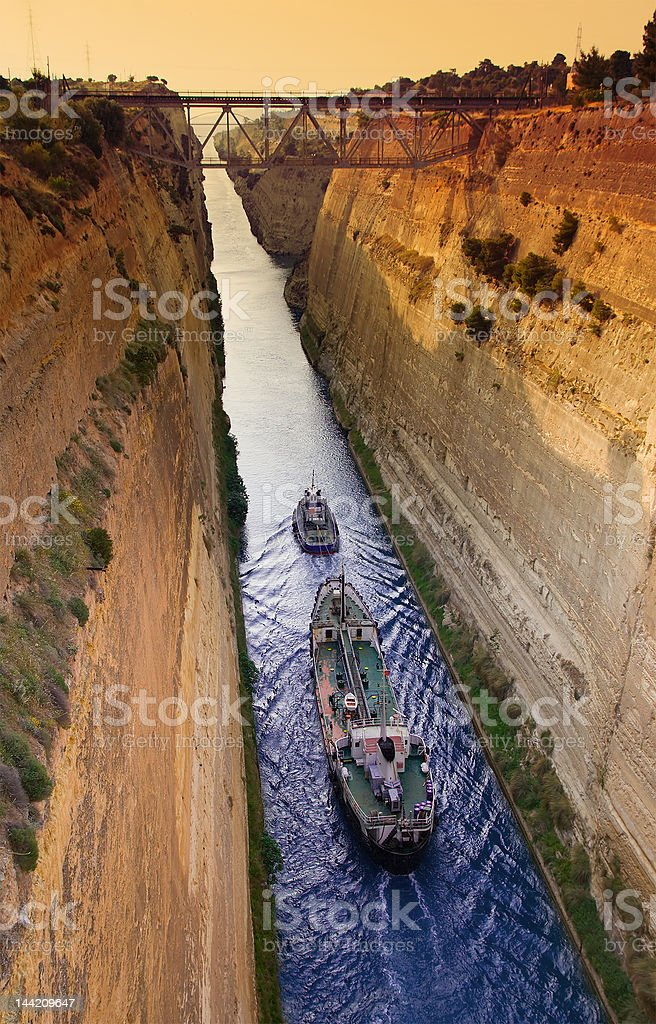 Shipping Industry through the Corinth Canal stock photo