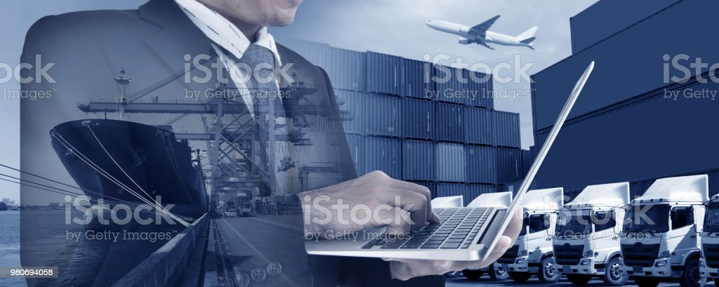 Shipping, Logistics background by multiple exposures of business man...