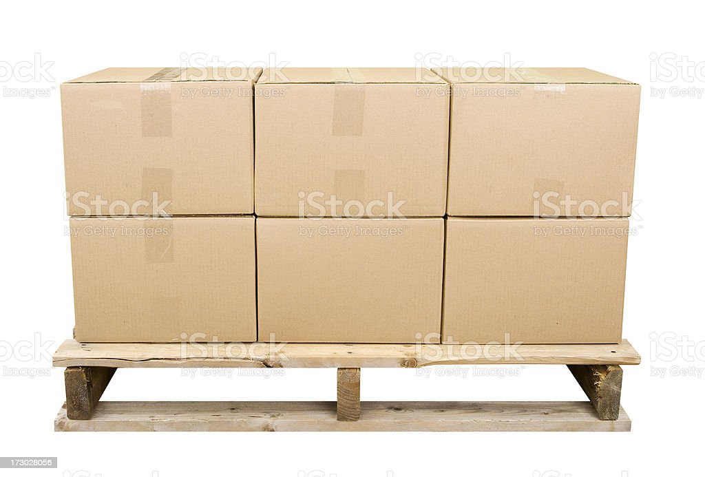 Shipping Pallet With Six Boxes stock photo