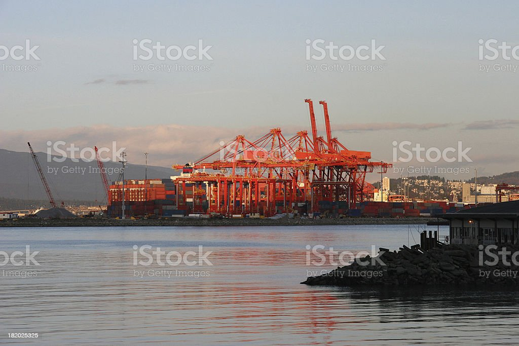 Shipping Port With Large Gantry Cranes stock photo