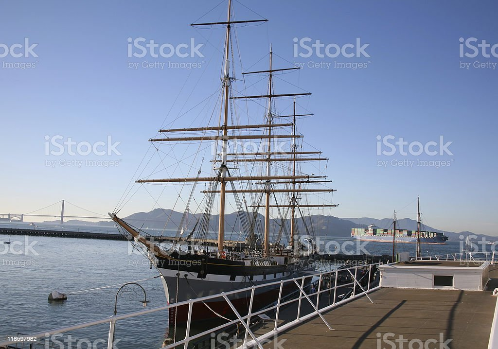 Shipping Then and Now - San Francisco Bay, California stock photo