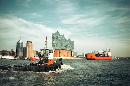 shipping traffic on Elbe River in Hamburg Port